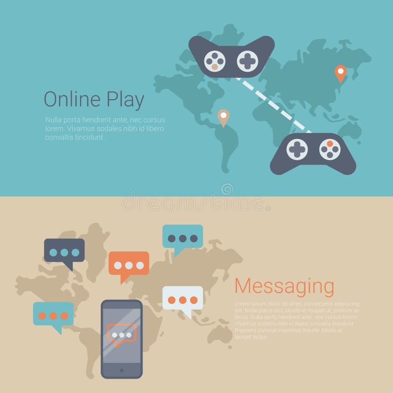 Världskarta för lek för dobbel för plant baner för vektorwebsiteglidare online- stock illustrationer
