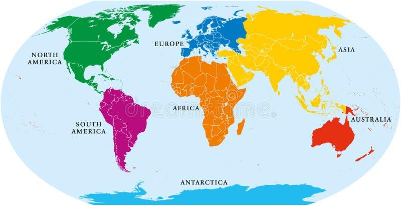 Världskarta för sju kontinenter stock illustrationer