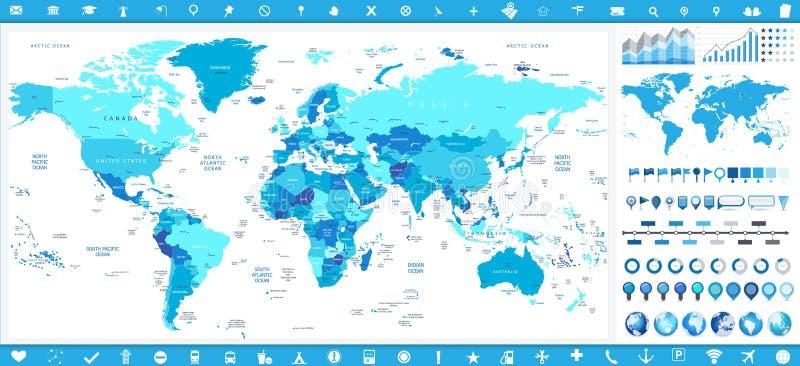 Världskarta i färger av blåa och infographic beståndsdelar stock illustrationer