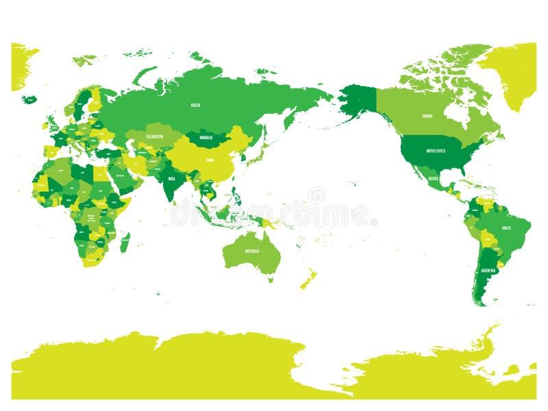 Världskarta i fyra skuggor av gräsplan på vit bakgrund Stillahavs- centrerad politisk översikt för hög detalj också vektor för co stock illustrationer