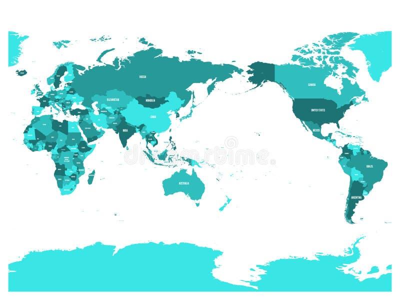 Världskarta i fyra skuggor av turkosblått på vit bakgrund Stillahavs- centrerad politisk översikt för hög detalj vektor vektor illustrationer