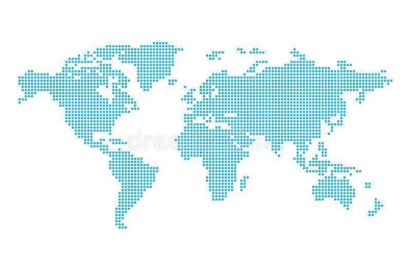 Världskarta i PIXEL royaltyfri illustrationer