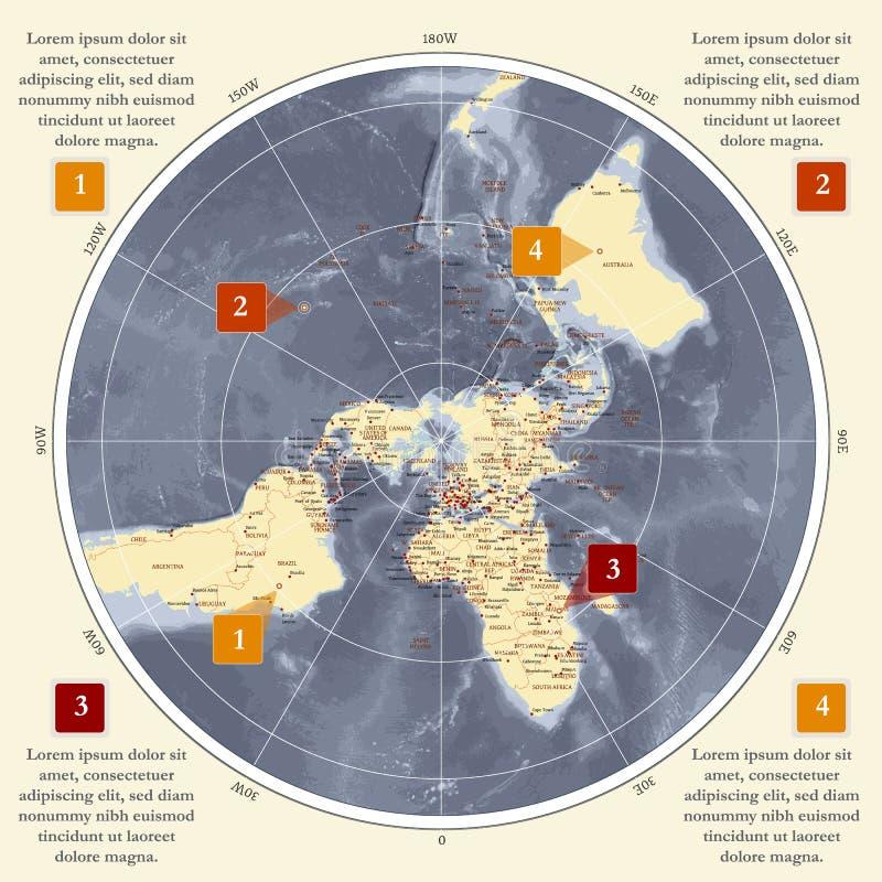 Världskarta i polar projektion för cirkel archy royaltyfri illustrationer