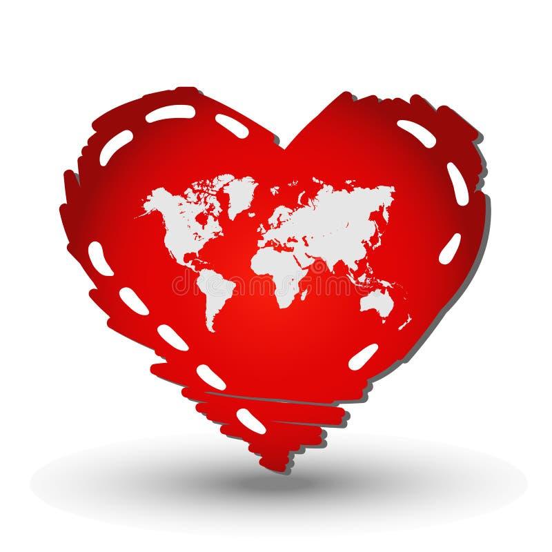 Världskarta i röd hjärta vektor illustrationer