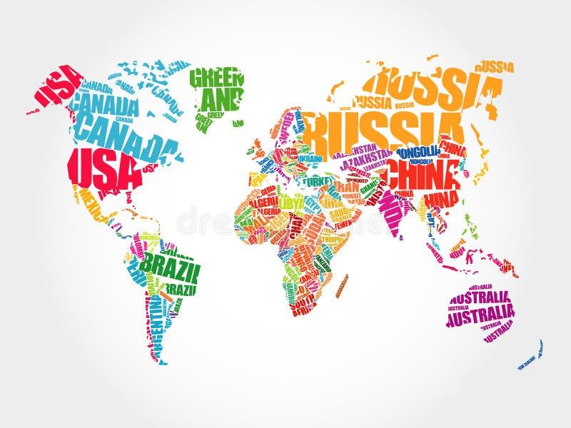 Världskarta i typografiordmoln royaltyfri illustrationer