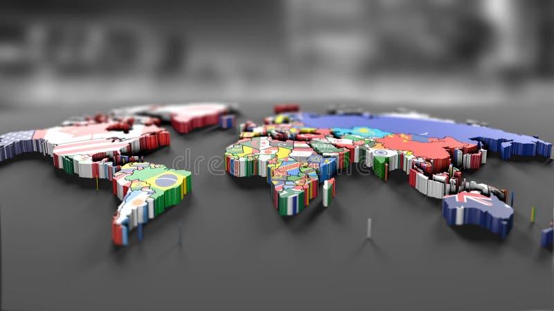 Världskarta med alla tillstånd och deras flaggor stock illustrationer