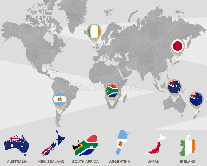 Världskarta med Australien, Nya Zeeland, Sydafrika, Argentina, Japan, Irland pekare stock illustrationer
