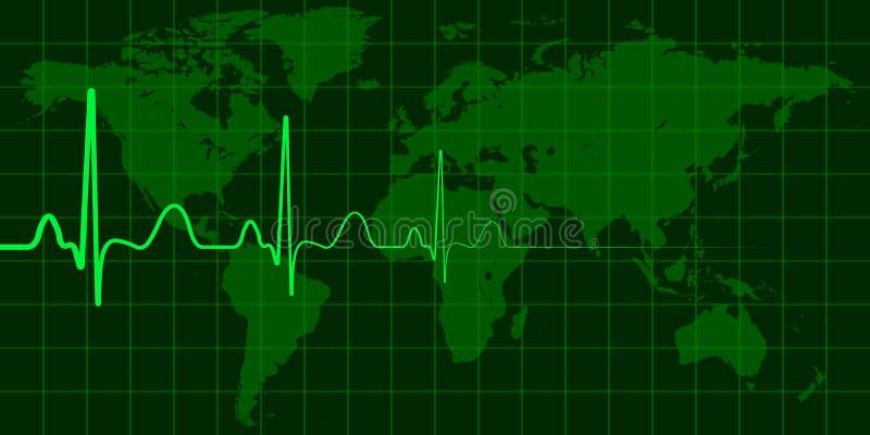 Världskarta med cardio pulsvektorbegrepp av den globala ändring, krisen och katastrofer, nyhetshändelser vektor illustrationer