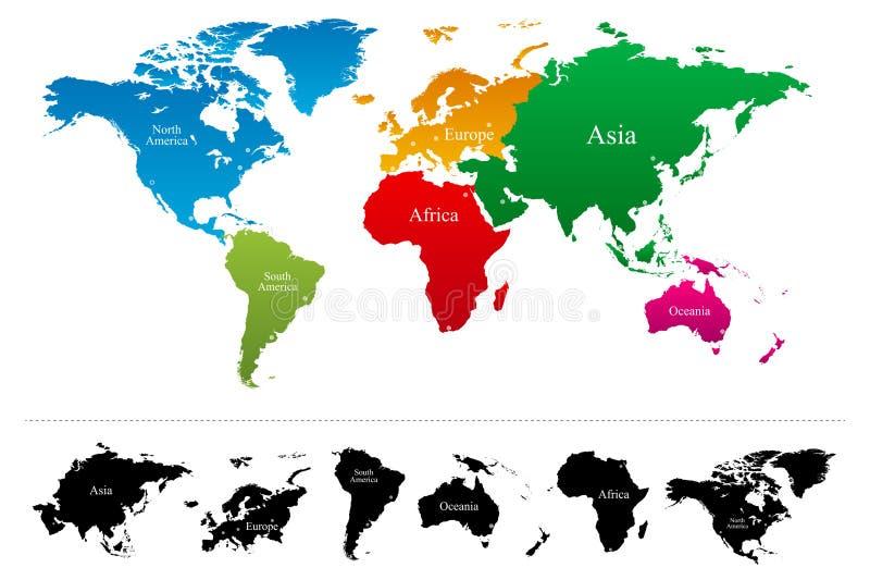 Världskarta med den färgrika kontinentkartboken vektor illustrationer