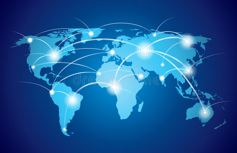 Världskarta med det globala nätverket vektor illustrationer