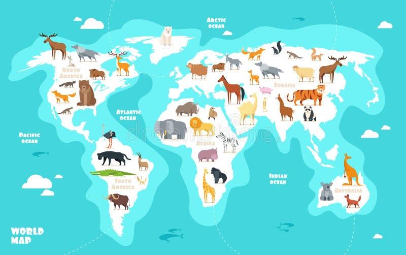 Världskarta med djur Illustration för vektor för geografi för ungar för jordupptäckt rolig royaltyfri illustrationer