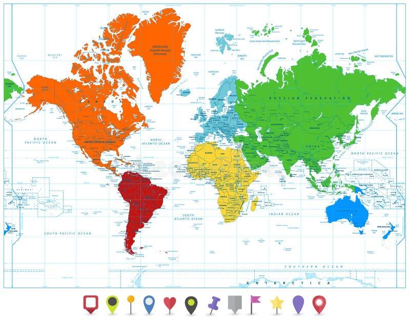 Världskarta med färgrika kontinenter och isolaten för lägenhetöversiktspekare royaltyfri illustrationer