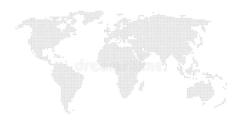 Världskarta med gråa prickar stock illustrationer