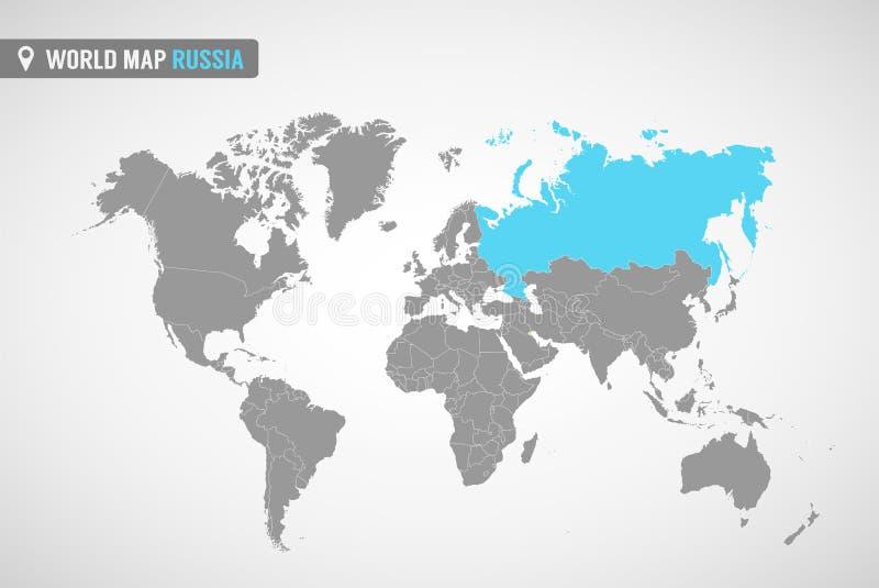 Världskarta med identicationen av Ryssland översikt russia Politisk världskarta i grå färg Asien länder royaltyfri illustrationer
