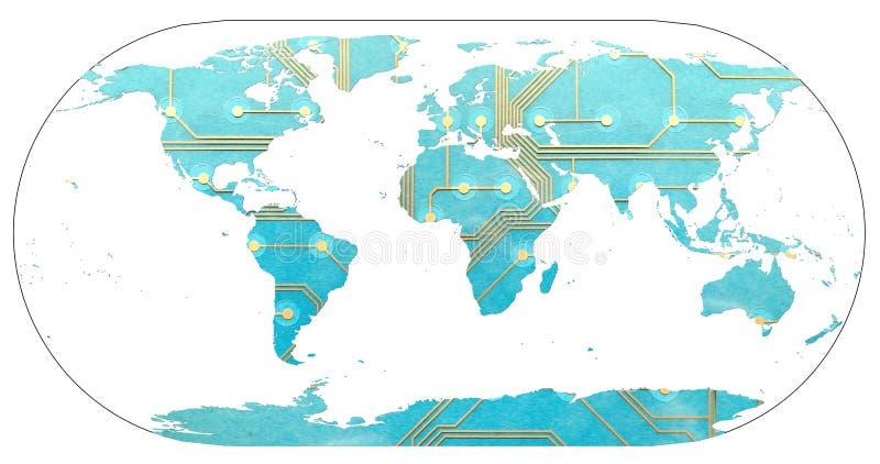 Världskarta med kontinenter som fylls av brädet för utskrivaven strömkrets Begreppet av den digitala världen, förbindelsevärlden  royaltyfri foto