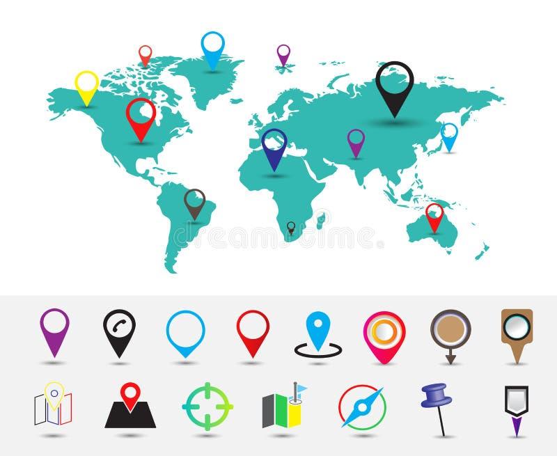 Världskarta med lägestiftet royaltyfri illustrationer