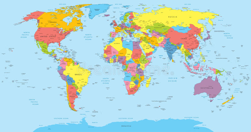 Världskarta med lands-, lands- och stadsnamn vektor illustrationer