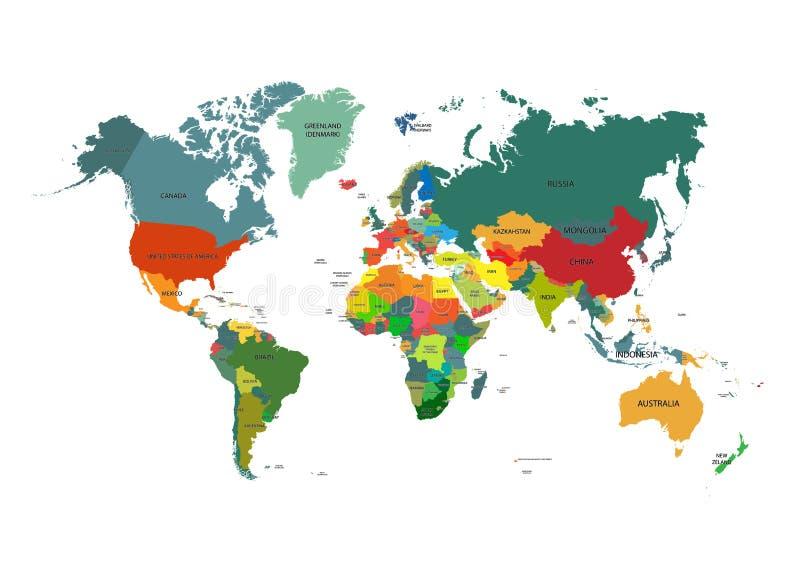 Världskarta med landsnamn vektor illustrationer