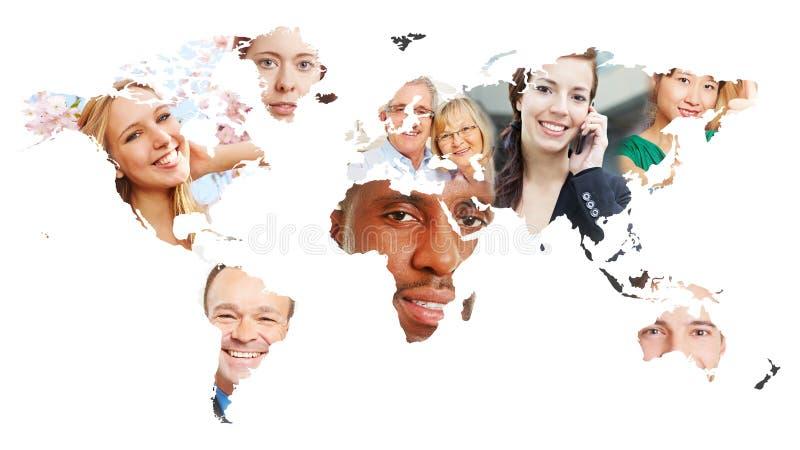 Världskarta med många personer arkivfoton
