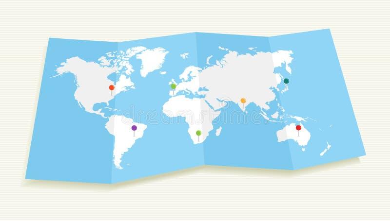 Världskarta med mappen för GPS lägehäftstift EPS10. royaltyfri illustrationer