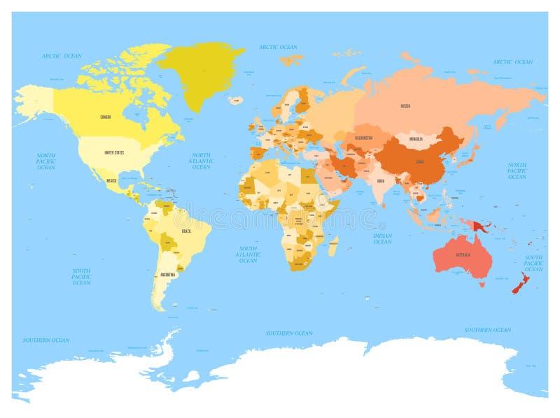 Världskarta med namn av suveräna länder och större beroende territorier Förenklad mångfärgad vektoröversikt på blått stock illustrationer