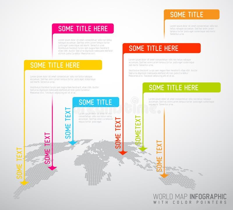 Världskarta med pekarefläckar (flaggor) stock illustrationer