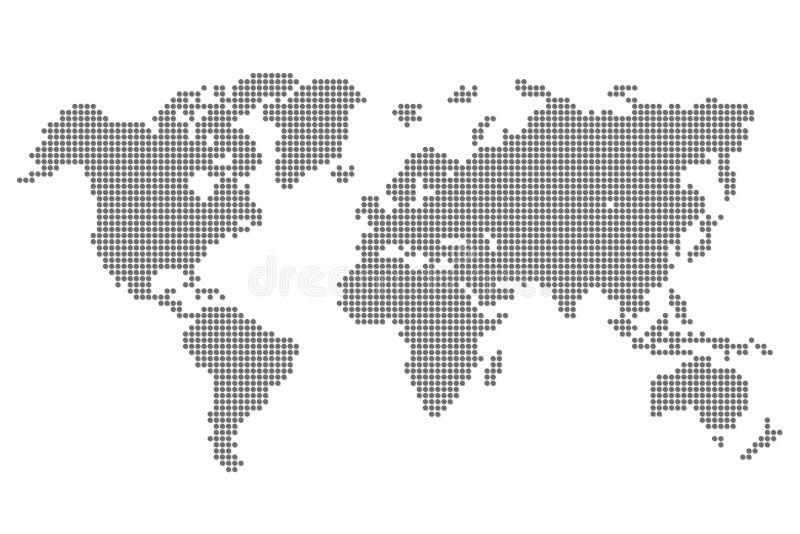 Världskarta med PIXEL - vektor vektor illustrationer