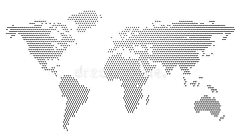 Världskarta med PIXEL - vektor royaltyfri illustrationer