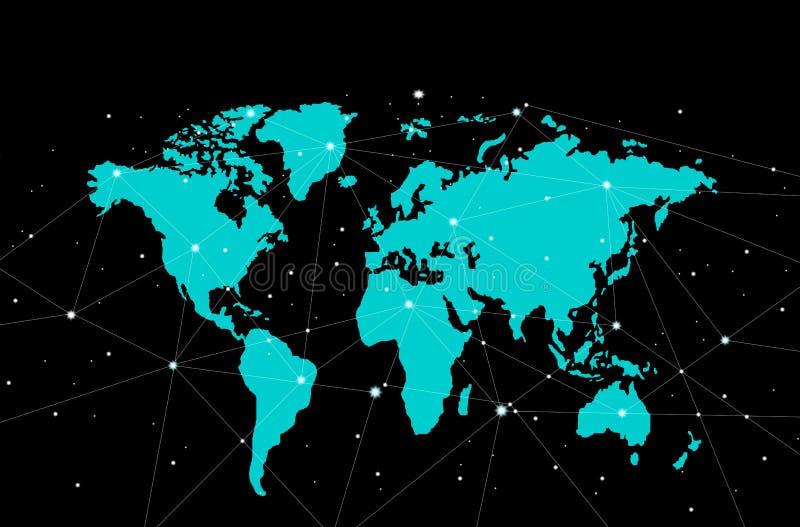 Världskarta med punktanslutning, isolerad översikt med svart bakgrund royaltyfri illustrationer
