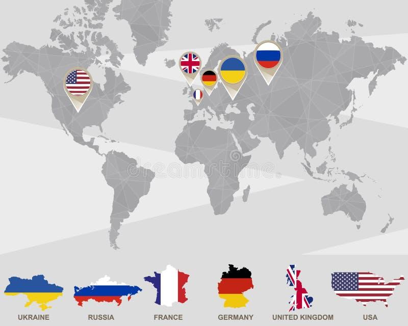 Världskarta med Ukraina, Ryssland, Frankrike, Tyskland, Förenade kungariket, USA pekare royaltyfri illustrationer
