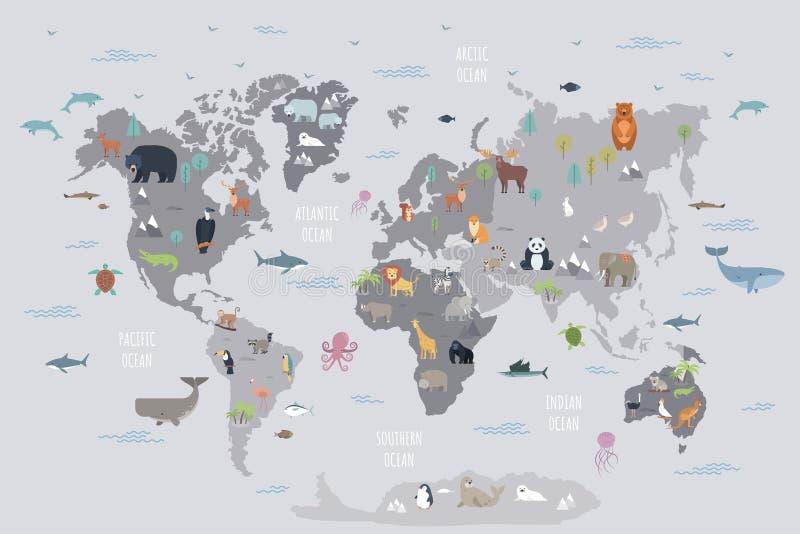 Världskarta med vilda djur som bor på olika kontinenter och i hav royaltyfri illustrationer