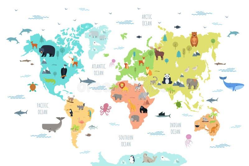 Världskarta med vilda djur som bor på olika kontinenter och i hav stock illustrationer