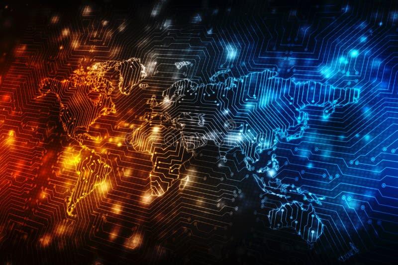 Världskarta- och blockchainjämlike som plirar nätverket, begrepp för globalt nätverk fotografering för bildbyråer