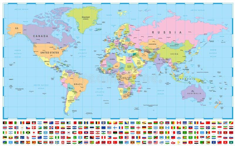 Världskarta och flaggor - gränser, länder och städer - illustration vektor illustrationer