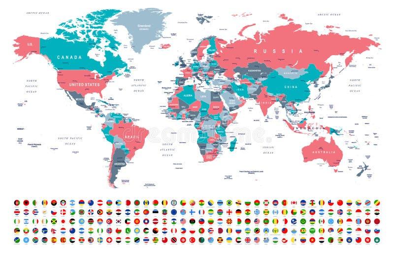 Världskarta och flaggor - gränser, länder och städer - illustration stock illustrationer