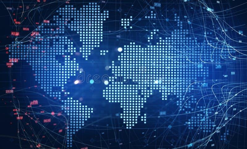 Världskarta och globalt begrepp för digitalt nätverk vektor illustrationer