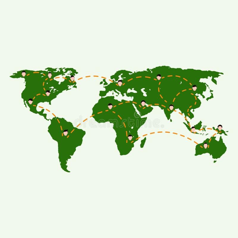 Världskarta- och nätverksanslutning royaltyfri illustrationer
