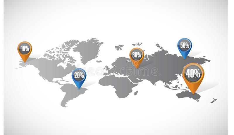 Världskarta och rabattlocatorsillustration vektor illustrationer