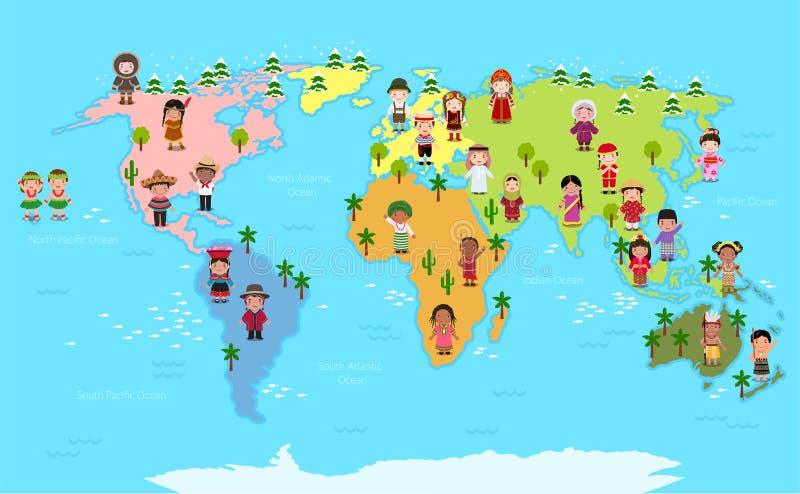 Världskarta och ungar av olika nationaliteter royaltyfri illustrationer