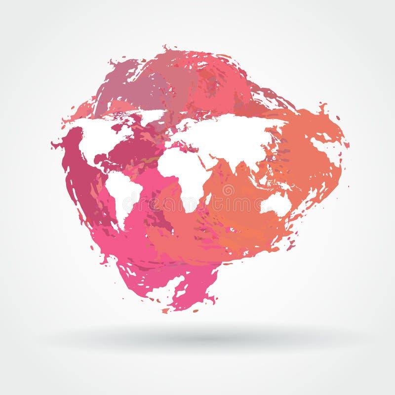 Världskarta på en fläck stock illustrationer