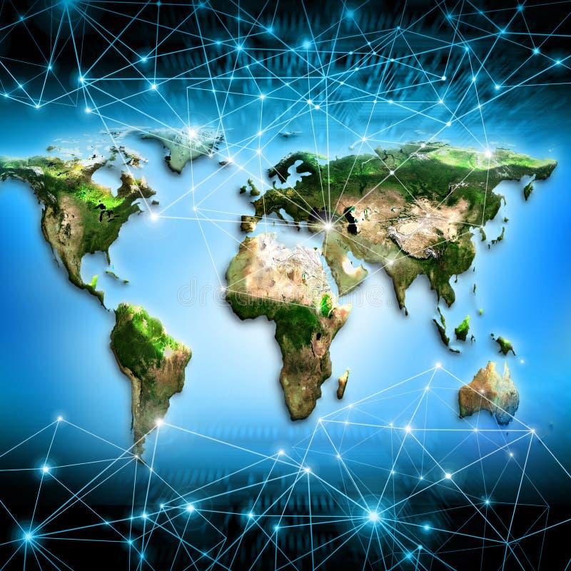 Världskarta på en teknologisk bakgrund bäst royaltyfri illustrationer