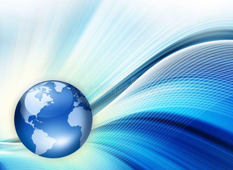 Världskarta på en teknologisk bakgrund som glöder stock illustrationer