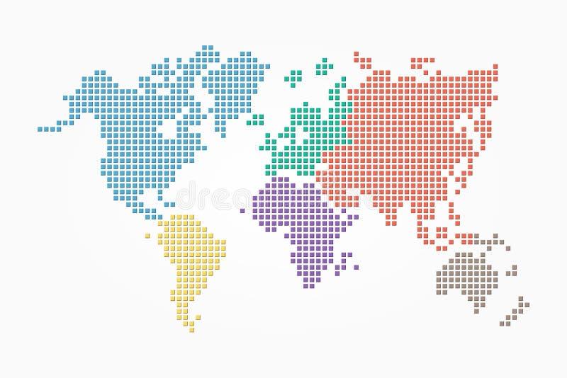 Världskarta (PIXELstil och lägenhetfärgdesign) (olik färg av kontinenten) royaltyfri illustrationer