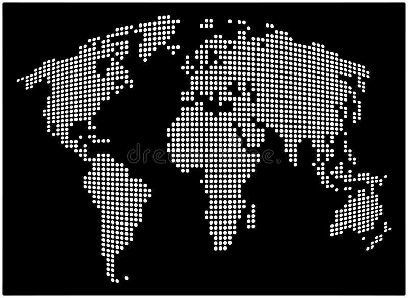 Världskarta - prickig vektorbakgrund för abstrakt begrepp Svartvit konturillustration stock illustrationer