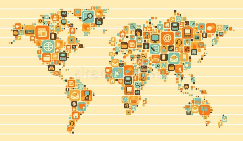 Världskarta: samkväm och massmediasymboler vektor illustrationer