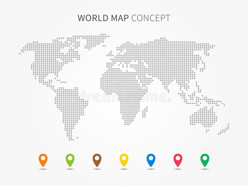 Världskarta som är infographic med den färgrika pekarevektorillustrationen stock illustrationer