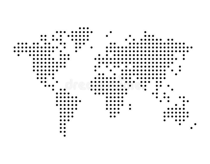 Världskarta som dras med prickar, enkel svart illustration stock illustrationer