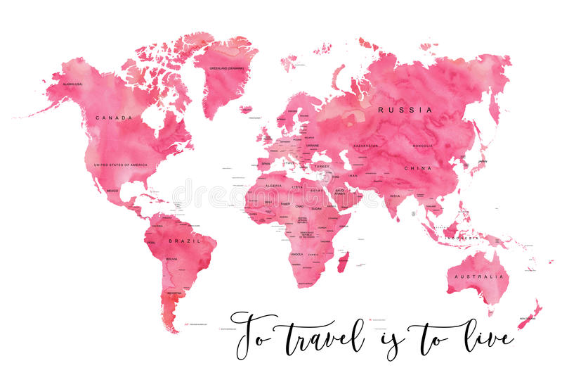 Världskarta som fylls med rosa akvarelleffekt royaltyfri illustrationer