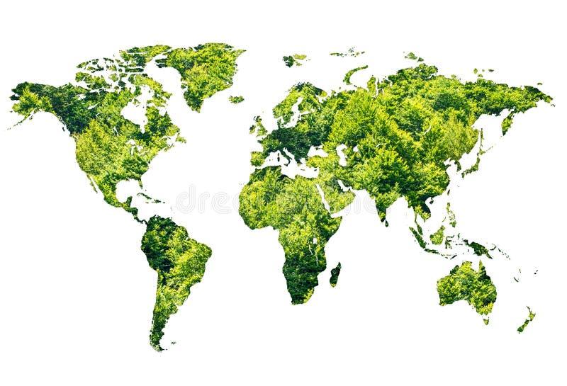 Världskarta som göras av grön skog på vit bakgrund royaltyfria bilder