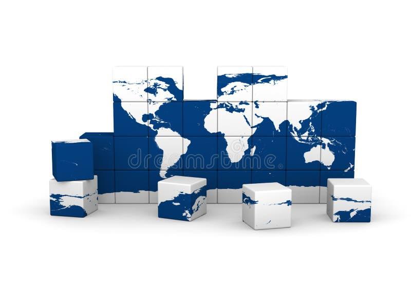 Världskarta som göras av kvarter vektor illustrationer